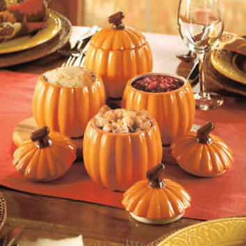 Set Of 4 Pumpkin Shaped Side Dishes W/Lids Fall Harvest Seasonal Thanksgiving