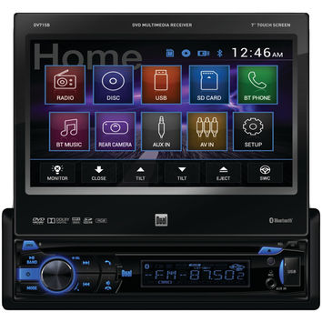 "Dual 7"" Single-din In-dash Dvd Receiver With Motorized Touchscreen & Built-in Bluetooth"