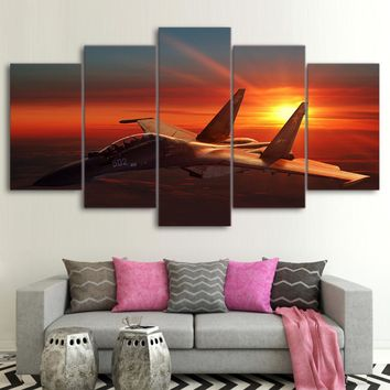 Military Air Force Jet Airplane Aircraft at Sunset Wall Art Canvas Panel Print