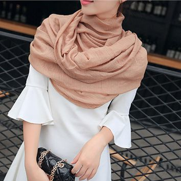 Women Cotton Linen Scarf Muslim Hijab Muffler Casual Long Plain Scarves Shawl Stole 20 Candy Colors For Choose