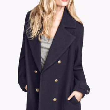 Notched Collar Double-Breasted Lapel Woolen Coat