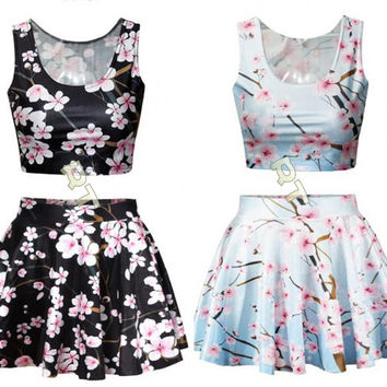 Cherry Blossom Skater Skirt Circle Skirt Cherry Blossom Tree Elastic Pleated Skirt  Hipster Crop Tops Running Crop Top