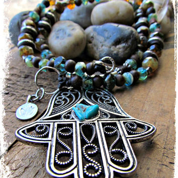 HAMSA Turquoise Pendant Necklace~LOTUS Charm Beaded Bohemian Hippie Gypsy Necklace~Women's Jewelry~Mdogstudios~