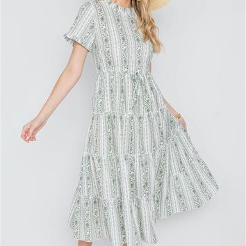 Floral Shirred Midi Dress | Sage