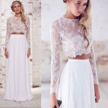 Crop top boho wedding dresses 2 pieces lace wedding dresses long sleeves beach wedding dress chiffon destination wedding dresses