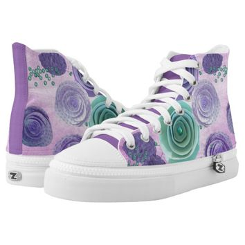 Lilac and teal flowers printed shoes