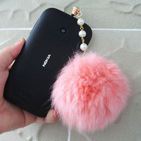 Cell phone dust plug, phone accessories, handmade phone charm,fur ball Cell phone dust plug