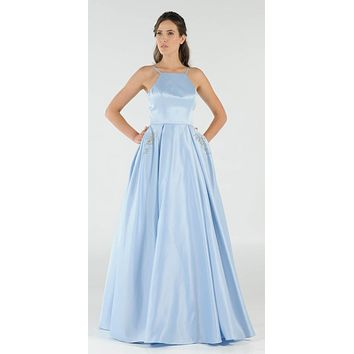 Baby Blue Long Satin Prom Dress Halter Spaghetti Strap with Pockets