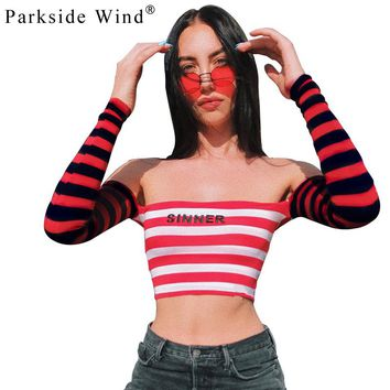 Women Casual Letter Printed Cropped Top Shirt  Red Striped Cotton T-shirt Fashion 2018 Summer Slim Off-shoulder Tee SWB1220-45