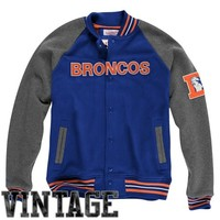 Mitchell & Ness Denver Broncos Backward Pass Button-Up Jacket - Royal Blue/Charcoal