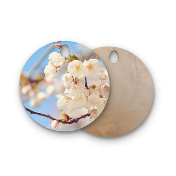 """AFE Images """"Cherry Blossoms"""" Multicolor Blue Photography Round Wooden Cutting Board"""
