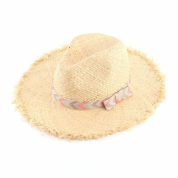 Natural Raffia Straw Sun Hats Women Summer Bow Panama Fedoras Beach Hat Chapeu De Praia