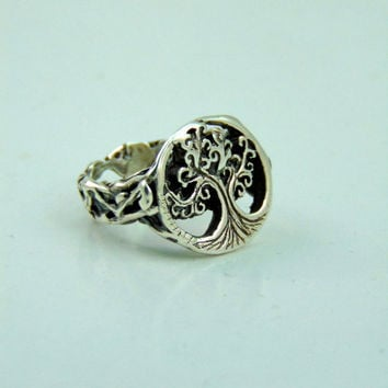 Amazing Tree of Life ring in 999 pure silver with its roots-Art clay pure silver 999 PMC precious metal clay tree of life and roots