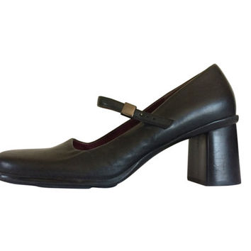 90s Mary Jane Shoe Mary Jane Heel Size 7.5 Black Mary Jane Women Shoe Maryjane Shoe 90s Grunge Shoe 90s Chunky Heel Block Heel Retro 1990s