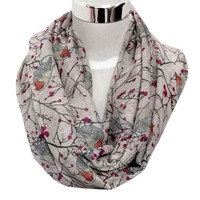 Fashion Design Lady Womens Cute Bird Print Scarf Shawl Soft Scarves Winter Warm Wonderful gift  free shipping OCT15