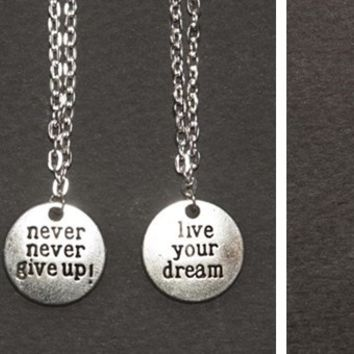 Inspirational Never Give Up Charm Necklaces-3 Designs-Perfect Holiday Gifts