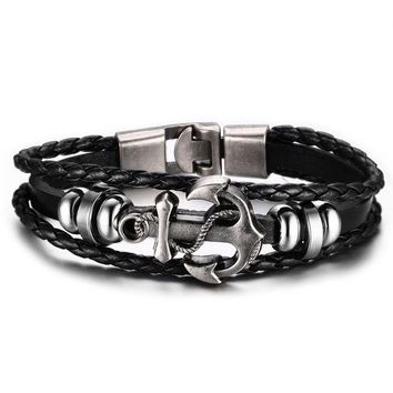 Vintage Anchor Black Leather Charm Bracelet