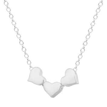 925 Silver Three Heart Necklaces Pendants For Women Tiny Charm Romantic Jewelry