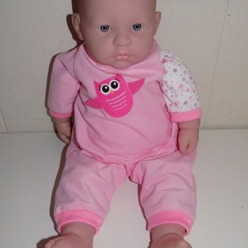 """La Baby Berenguer 18"""" Cloth Body Vinyl Doll Pink Owl Outfit JC Toys"""