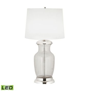 Massive Glass Urn LED Table Lamp Clear Glass,Polished Nickel