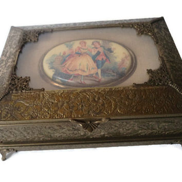 Antique 19th Century French Bronze Jewelry Box Hand Painted Porcelain Portrait