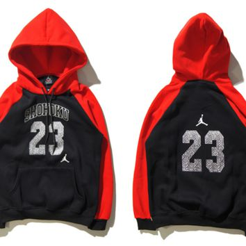 """""""Air Jordan"""" Fashion Casual Unisex Multicolor Loose Cartoon Letter Pattern Print  Round Neck Long Sleeve Couple T-shirt Hooded Plus Cashmere Sweater"""