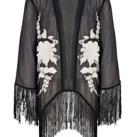 Boutique Amy Tassle Hem Flower Embroidery Kimono