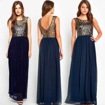 Plus Size Embroidered Sleeveless Chiffon Backless Long Dress