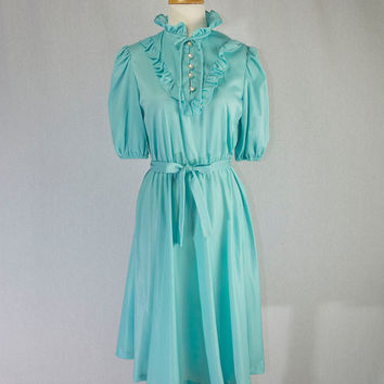Vintage 1980's Aqua Secretary Dress Cutest High Neck Ruffle Collar