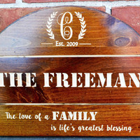 Last name Established / Personalized Family Sign - Anniversary plaque / Wedding Gift - Rustic CARVED Custom