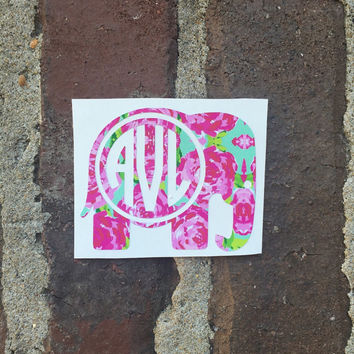 Lilly Pulitzer Inspired Monogram Elephant Decal