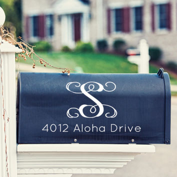Vine Monogram Mailbox Decal