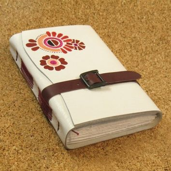 White Journal - Leather painted Blank Book - Summer Joy | Baghy - Paper/Books on ArtFire