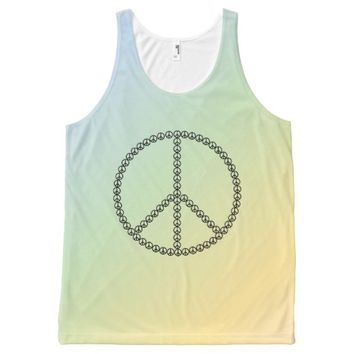 Custom Peace Sign Graphic Ombre Pastel Rainbow All-Over Print Tank Top