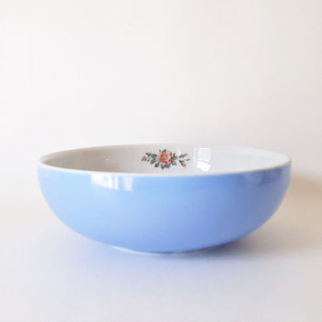Vintage China Large Blue White Serving Bowl Dish Hall China Bowl Vegetable Bowl Dish Hall China Large Floral Serving Bowl Casserole Bowl