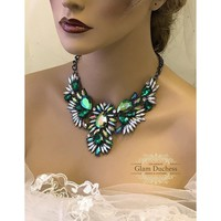 Emerald Green Crystal Bridal Choker Necklace