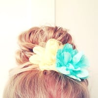 One Mint Turquoise Blue Hair Flower Chiffon Tulle Soft Bun Up do Spring Summer Embellishment Child Adult Teen Fluff Pom Pom