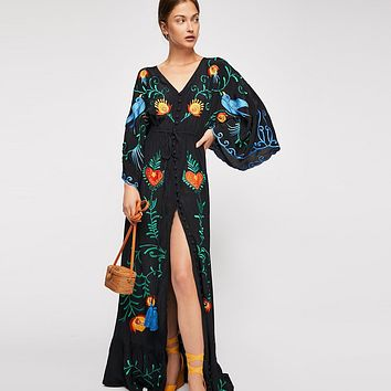 Bird Embroidered V-neck Batwing Sleeve Long Button Down Maxi Dress (4 Colors)