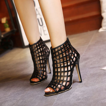 Womens Sexy Open Toe Cage Stiletto High Heels