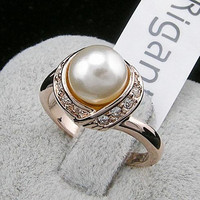 Trendy Gold Plated Pearl Rings
