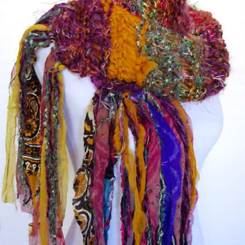 Funky Knit Scarf Sari Chiffon Ribbon Fringy Accents Hand Tied Imported Yarn Accent Style