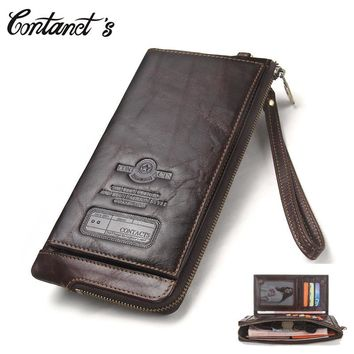 2018 Men Wallet Clutch Genuine Leather Brand Rfid  Wallet Male Organizer Cell Phone Clutch Bag Long Coin Purse Free Engrave