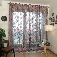 Factory Price! Elegant Floral Curtain Tulle Voile Window Curtain Panel Sheer Drape Scarf Valances