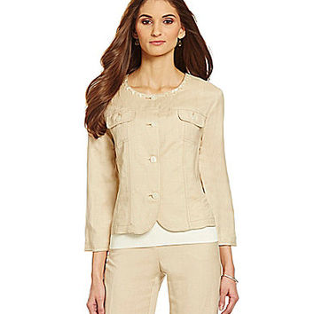 Ruby Rd. Shell Sequined Jewel-Neck Jacket - Dune