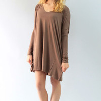 Piko- V Neck Long Sleeve Tunic/Dress- Mocha