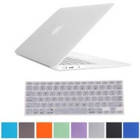 """HDE Rubberized Hard Shell Case + Matching Keyboard Skin for Macbook Air 11.6"""" - Fits Model A1370 / A1465 (Clear)"""