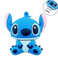 16GB USB Flash Drive Cute Cartoon Female Stitch Shape 2G Memory Stick U Disk with Key Chain Hole 16G Memory Stick U Disk - Blue
