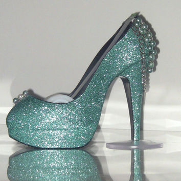 Teal Blue/Green Faux Pearl Silver Chain High Heel Shoe TAPE DISPENSER Stiletto Platform - office supplies - trayart collection
