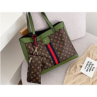 LV x GUCCI hot seller printed patchwork color two-piece single-shoulder bag hot seller casual lady shopping bag #3