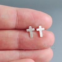 Tiny Cross Earrings Sterling Silver Cross Stud Earrings Cute Tiny Cross Studs Cross Post Earrings Dainty Simple Everyday Jewelry Unisex Gift